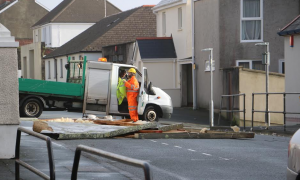 Roof which blew off a house in Robert Street, Milford Haven, Wednesday.