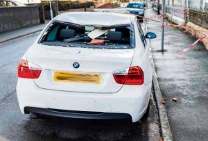 Wrecked: BMW ruined by falling slates in Pembroke. (Drew Buckley Photography)