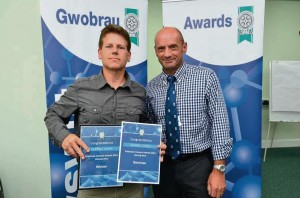 Unsung Hero Award (2014) Individual Winner: Darrell Lewis, Driver Tenby Day Centre/Tenby Town Rider (left) with Ian Westley, Director of Transportation, Housing and Environment