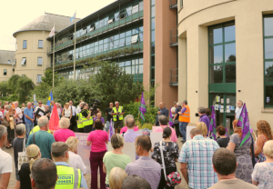Two hundred people attended a protest at County Hall