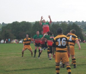 The Saints go up for a line out: Pic by Mike Hardwick.