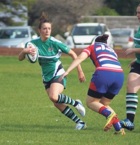 Player of the match: Mari Griffiths attacks the Pencoed defence (Pic. Anneka Hopson)