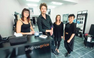 Andrew Price Salons: Senior stylist Kirsty Collett (left) with manager Rhys John, salon co-ordinator Anna Whiting-Whipps and apprentice Georgia Maher at the company's Narberth salon