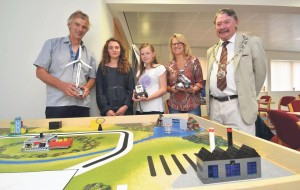Green energy: Steve Smith, Curriculum Enrichment Co-ordinator with Cllr Tom Richards and students.