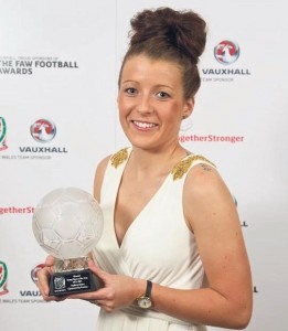 Star Player: Angharad James and her Young Player of the Year award.
