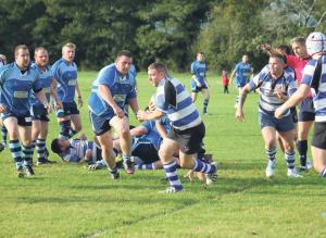 Barnstorming run: Fishguard's number 8 Mark George sets off on a typical powerful run from a scrum (pic. Andrew Butler)