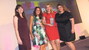 Winners: Emma Price, Corporate Communications Manager, Hannah Poulton, Head of Multi-Channel Communications and Natalie Manson, Multi-Channel Marketing Manager at Principality collecting their award.