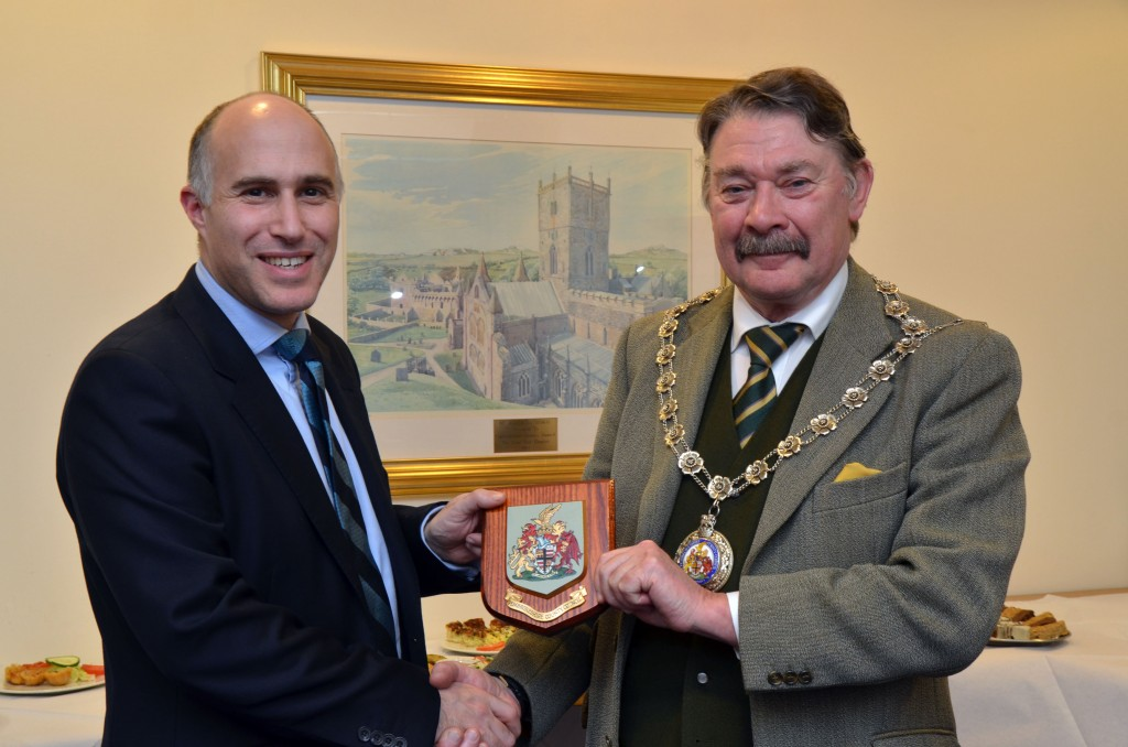 Lieutenant Colonel Stoter with County Council Chairman, Councillor Tom Richards