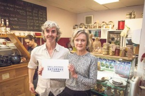 Delyth Evans: With Cwtch Café owner Michael O'Dowd.
