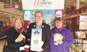 Respect week: Local shopper Gaynor Davies with Marc Tierney and Susan David.