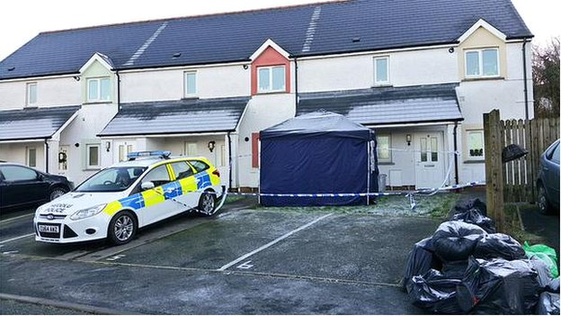 Tragic: The property in Cardigan where the body was found The woman's body was found in a property in the Pentop area