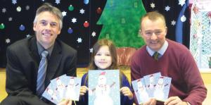 Competition winner: Annabel Morby with Simon Hart MP and headteacher Kevin Phelps.