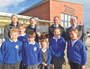 Pupils from Cleddau Reach School: Outside the award winning building