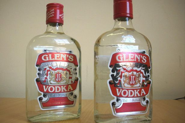 Glen's Vodka: Fake on the right, original product on the left.