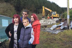 Demolished: The family of April Jones at the demolition site. (Pic. Rob Formstone)