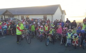 Cycle, scoot and walk to school: Lamphey Primary School taking part in their termly event.