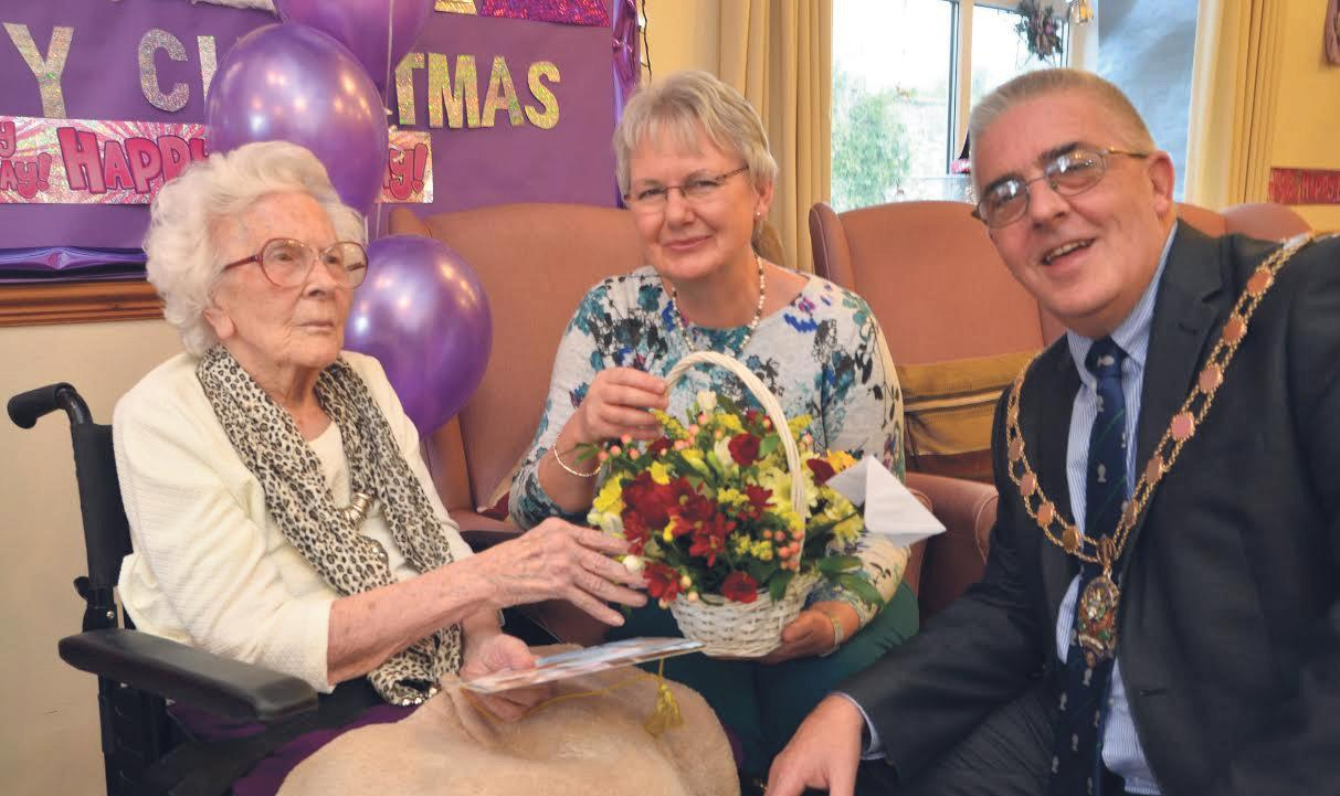 100th birthday: Louvain at her birthday party where she was visited by the Chairman of Pembrokeshire County Council.