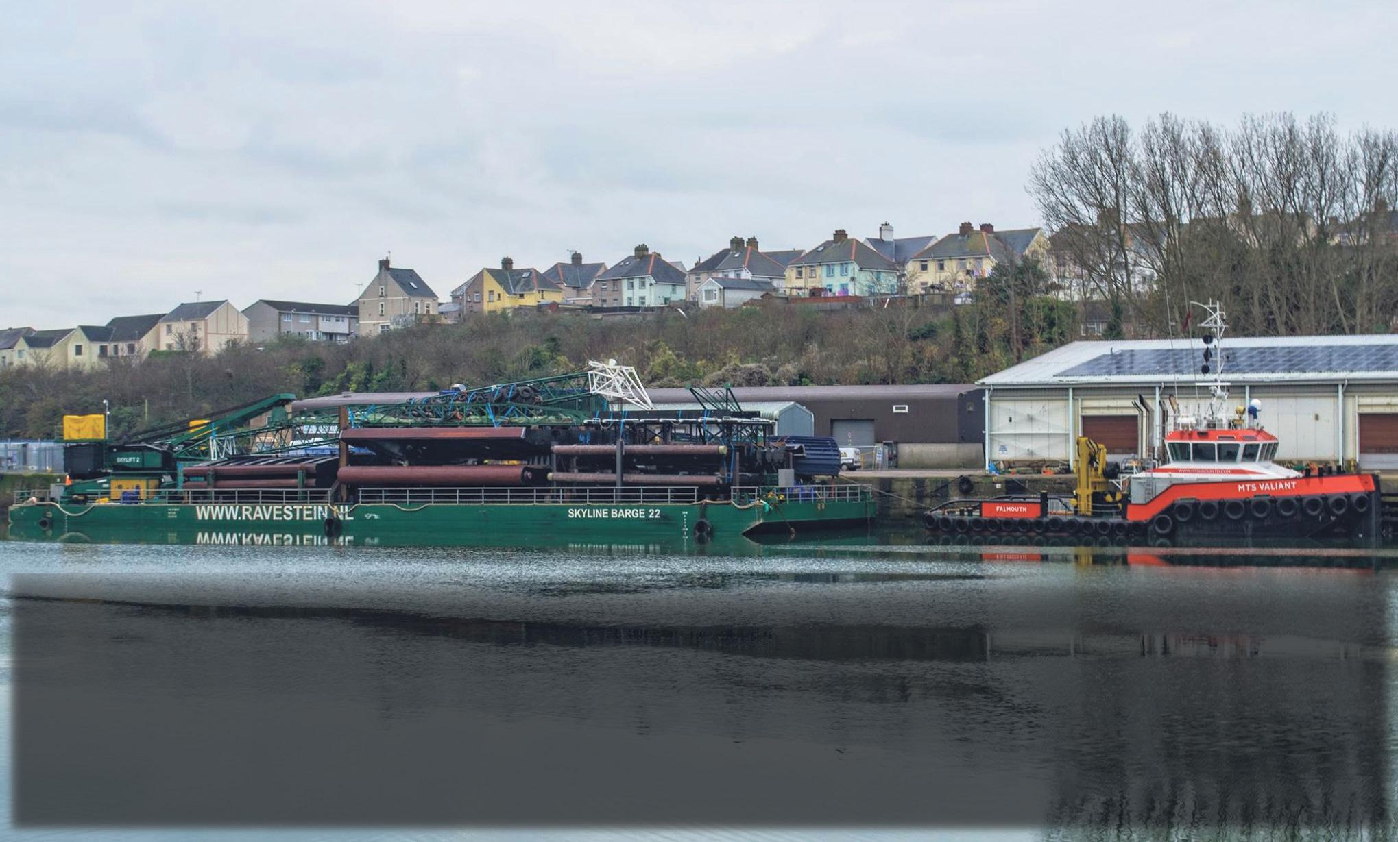 The new lock gates arrived at Milford Haven Marina on Monday December 1 on board Ravestein's Skyline barge 22. They're being towed by the tug MTS Valiant