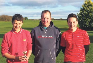 Winter League winner Harley Holmes: With runner up Luke Young and Vice Captain Adam Rogers.