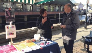 A special stall: Raising awareness of the White Ribbon campaign