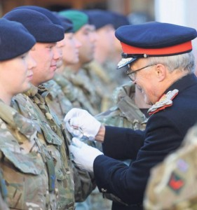 Presenting an Operations Service Medal, Lord Lieutenant of Dyfed. Pic: Malcolm Richards