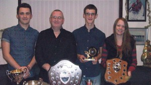 2014 winners: Shaun Williams top weight angler, Keith Williams Champion angler, Connor Williams junior Champion and Claire Hall ladies Champion