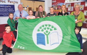 Pictured with some of the pupils are: Phil Bowen, Chair of Governors); Kiri Howell; Jenny Vincent, Lead teacher for Eco Schools; Michele Thomas, Headteacher and Amanda Edwards, Deputy Headteacher.