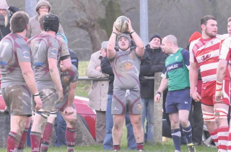 Crymych's hooker Carwyn Rees prepares to throw the ball into the lineout