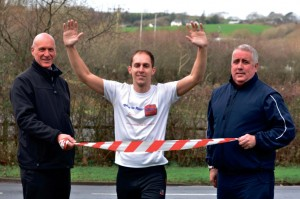 Dan Mumford with Chris Payne (left) and Robert Thomas (right), manager of Tenby Leisure Centre.