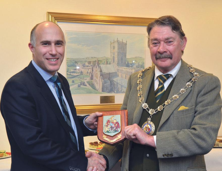 Saying goodbye: Lieutenant Colonel Stoter with County Council Chairman, Councillor Tom Richards