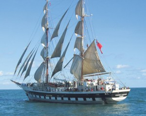 Stavros S Niarchos: A British brig-rigged tall ship owned and operated by the Tall Ships Youth Trust