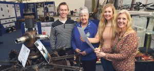 Strong connections: Beau, Samantha and Anne Flaherty with Pembroke Dock Heritage Centre founder, Margaret Black