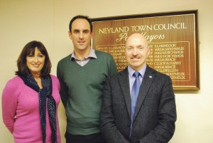 Dyfed-Powys Police and Crime Commissioner Christopher Salmon: With Neyland Town Council mayor Simon Hancock and clerk Jane Clark.