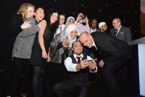 Ethnic Youth Support Team: Winners of the Award for the most admired organisation, posing with host Jason Mohammad