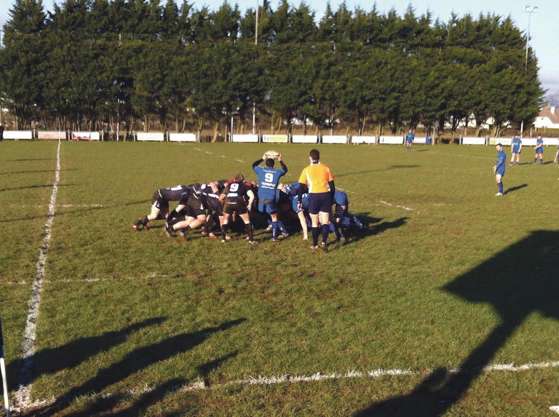 Scrum time: Haverfordwest scrum half Dan Morgan looks to put the ball in at a Blues scrum.