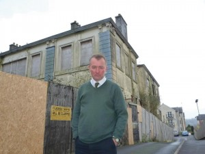 Simon Hart MP: Outisde the Old Infirmary on Priory Street, Carmarthen.