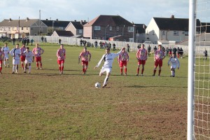 On the mark: Woodrow's penalty made it 2-2