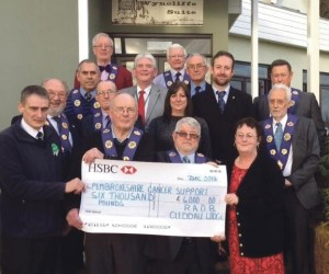 Charity receives donation: From Cleddau Lodge.
