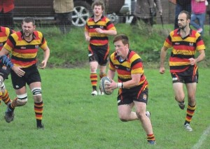 Try scorer: Cardigan's Marcus Castle got his name on the score sheet after a good display .