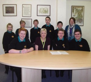 Kate Evan Hughes pictured with pupils from Ysgol Bro Gwaun
