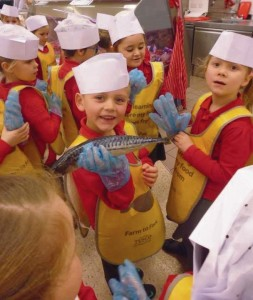 Tesco visit: Pupils learn about the origin of various foods.