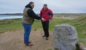 """Common sense has prevailed"": MP Simon Hart and Dai Boswell inspect the memorial stone"