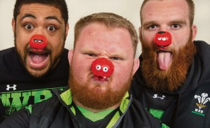 Team players: Welsh rugby players show their support.
