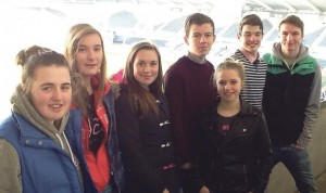 At the stadium: Kylie, Lucy, Amelia, Ben, Jasmine, Lewys and Hywel.