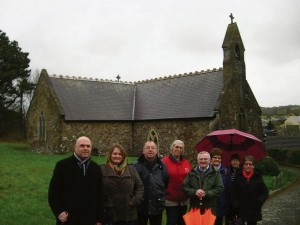Paul Davies AM: with church officials and parishioners outside St Jerome's Church, Llangwm
