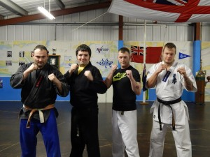 Martial Arts link: Michael Shelton (Left), Steven Grant (2nd Left) and colleagues