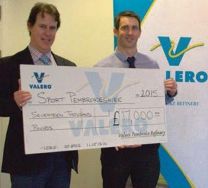 Stephen Thornton: Presenting a cheque to Sports Pembrokeshire Manager, Ben Field