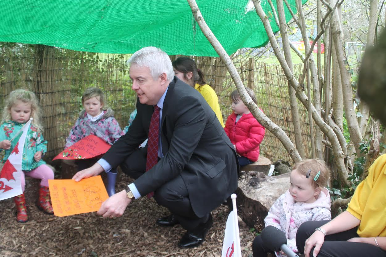 First Minister Carwyn Jones: Chatting with some of the children at the centre