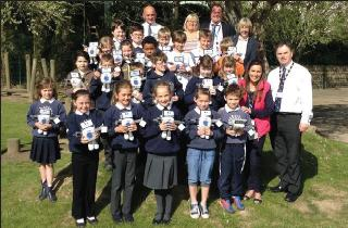 Council members helped hand out R3PIC toys: At Broad Haven School on Tuesday (Apr 28) .