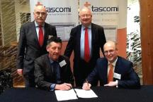 Pictured left to right: Bryan Snowden, Tascomi Ltd, Mark Elliott, Head of Public Protection, Pembrokeshire County Council, Minister for Public Services, Leighton Andrews AM and Dr. Richard Martin, Managing Director, Tascomi Ltd